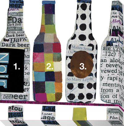 Beer Bottle Collage Stretched Canvas Print by  KOCO