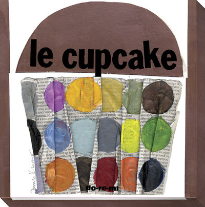 Le Cupcake Dots on Newsprint Stretched Canvas Print