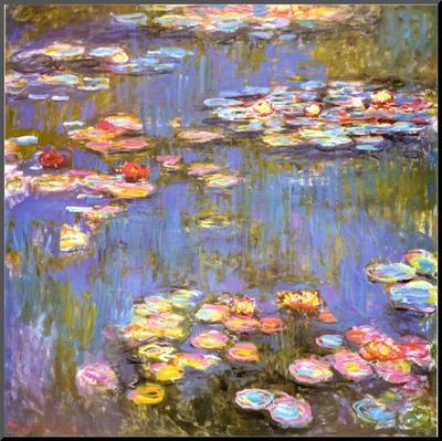 Waterlelies, 1916 Kunst op hout van Claude Monet