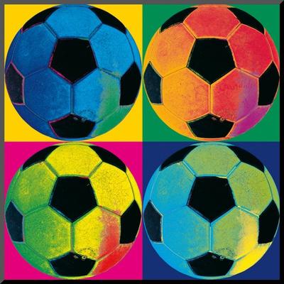 Vier ballen: voetbal Kunst op hout