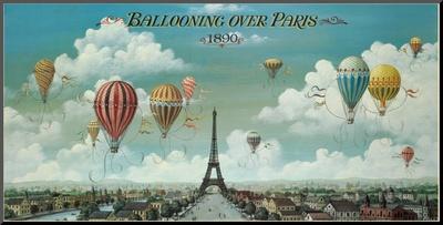 Paris Üzerinde Balon Turu Arkalıklı Baskı