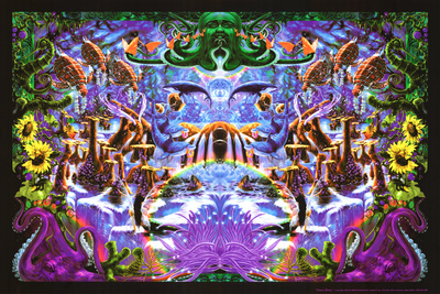 Octopus impression shape Octopus Garden psychedelic trippy poster by Richard Biffle
