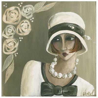 Femme Chapeau Blanc Beige Posters by Véronique Didier-Laurent