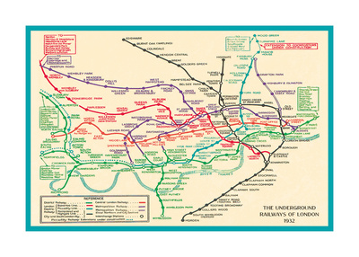Vintage Transport Map Prints by  The Vintage Collection