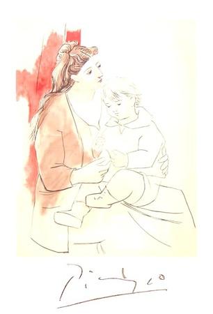 Maternite au Rideau Rouge Lámina coleccionable por Pablo Picasso