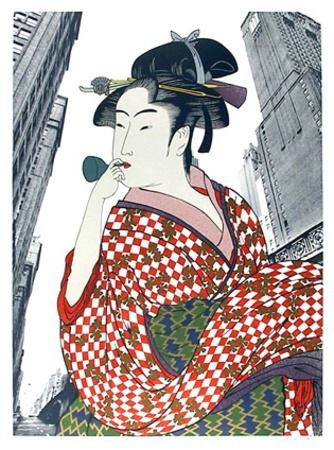 Woman Playing a Poppin (After Utamaro) Eksklusivudgaver af Michael Knigin