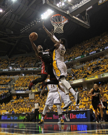 Indianapolis, IN - May 24: Miami Heat and Indiana Pacers - Dwyane Wade and Roy Hibbert Photo by Jonathan Daniel