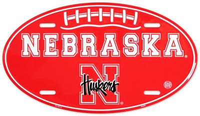 Nebraska Huskers Oval License Plate Tin Sign