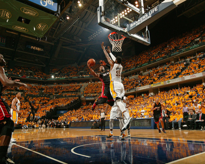 Indianapolis, IN - May 24: Miami Heat and Indiana Pacers - Dwyane Wade and Roy Hibbert Photo by Nathaniel S. Butler