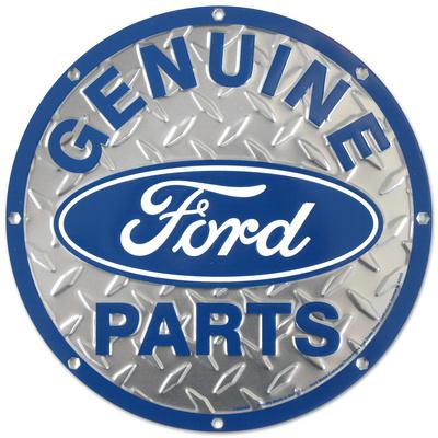 Ford Genuine Parts Diamond Plate Round Tin Sign