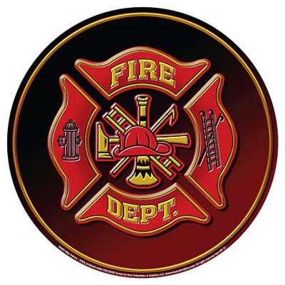 Fire Department Dept Fireman Hat Emblem Round Tin Sign