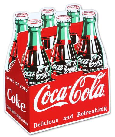 Coca Cola Coke Carton 6-Pack Bottles Tin Sign