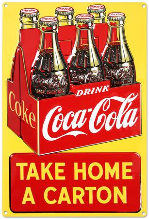 Drink Coca Cola Coke Take Home a Carton Tin Sign