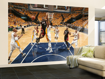 Indianapolis, IN - May 24: Miami Heat and Indiana Pacers - LeBron James and Roy Hibbert Wall Mural – Large by Nathaniel S. Butler