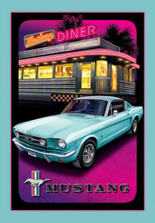 Ford Mustand Diner Car Tin Sign