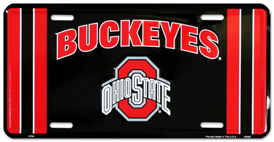 Ohio State Buckeye Black License Plate Tin Sign