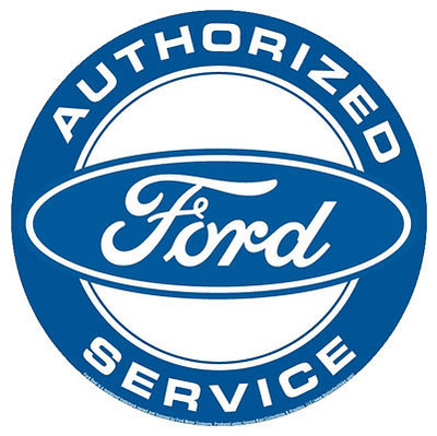 Authorized Ford Service Round Tin Sign