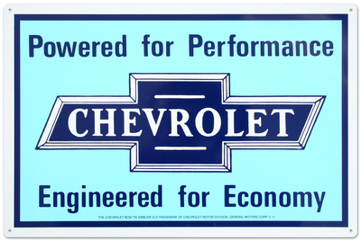 Chevrolet Chevy Powered for Performance Engineered for Economy Tin Sign