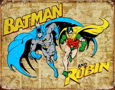 Batman and Robin Weathered Panels Tin Sign