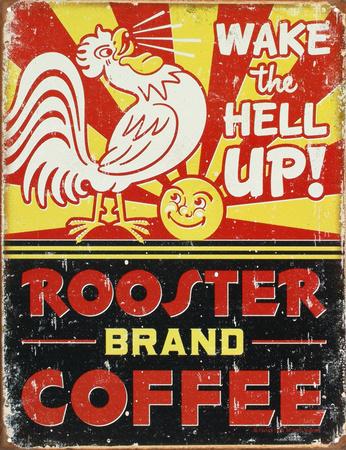 Rooster Brand Coffee Distressed Metal Tabela