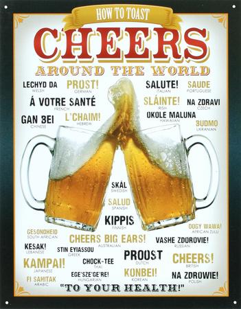 Cheers Around The World Beer Metal Tabela