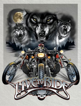 Live to Ride Wolves Motocycles Tin Sign