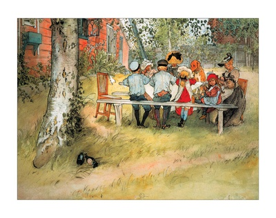 Breakfast Under Birch Prints by Carl Larsson