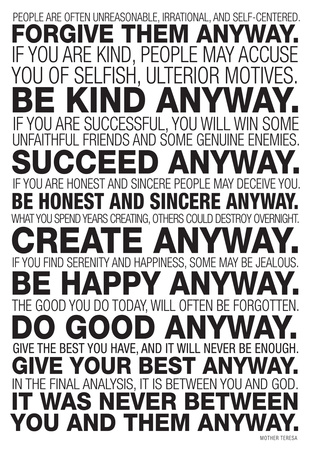 Mother Teresa Anyway Quote Poster Poster