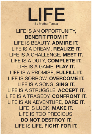 Mother Teresa Life Quote Poster plakat