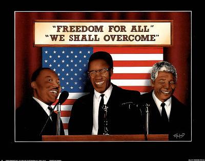 """Freedom for All"" – MLK, Malcolm X, Mandela Poster"