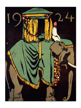Elephant with Howdah, c.1924 Posters