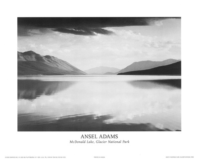 McDonald Lake, Glacier National Park Poster by Ansel Adams