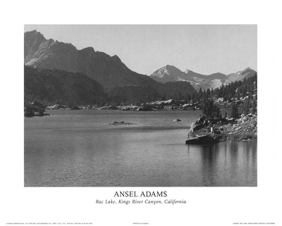 Rac Lake Kings River Canyon California Print by Ansel Adams