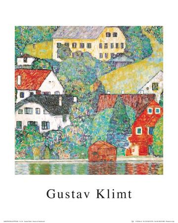 Houses at Unterach Print by Gustav Klimt