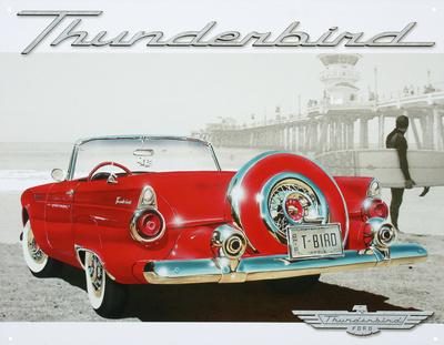Ford Thunderbird T-Bird Beach Scene Tin Sign