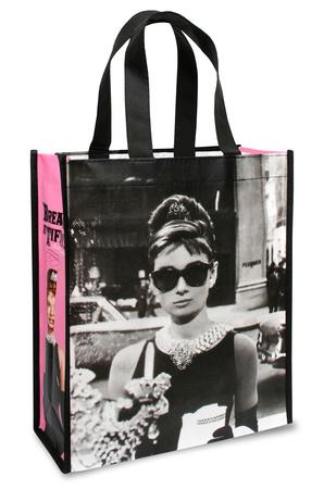 Audrey Hepburn wearing sunshades, pink and black fashion bag tote bag holiday gift gifts