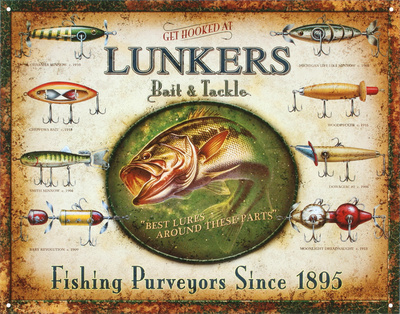 Lunker's Lures Bait and Tackle Tin Sign