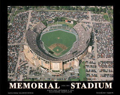 Baltimore Orioles Memorial Stadium Final Day Oct 6, c.1991 Sports Prints