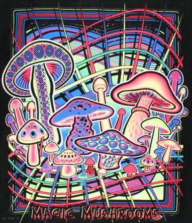Magic Mushrooms Blacklight Reactive Cloth Wall Hanging Tapestry Prints