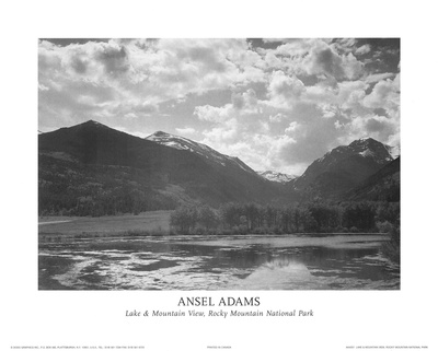 Lake & Mountain View Rocky Mountain National Park ポスター : アンセル・アダムス