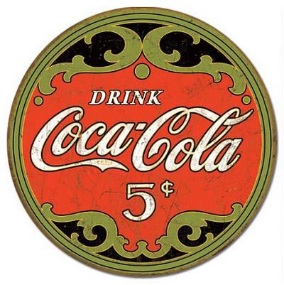 Coca-Cola Round 5 Cents Tin Sign