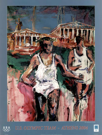 U.S. Olympic Team Athens 2004 Runners Posters by Mina Papatheodorou-Valyraki