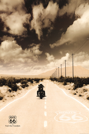 Route 66 Motorcycle Art Print Poster Pósters
