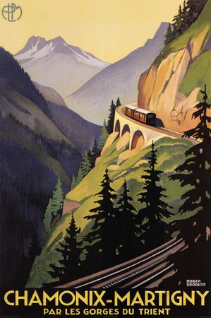 Roger Broders Chamonix Martigny Vintage Ad Art Print Poster Prints