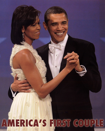 First Couple Dance Barack and Michelle Obama Art Print Poster Prints
