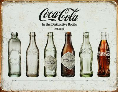 Coca Cola fles door de jaren heen, horizontaal Metalen bord