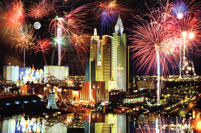 Las Vegas the strip fireworks, popular college travel destination