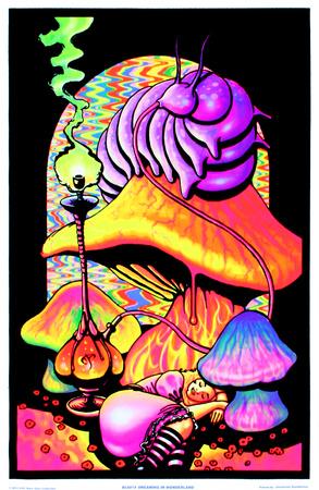 Alice in Wonderland Dreaming Flocked Blacklight Poster Art Print Plakater