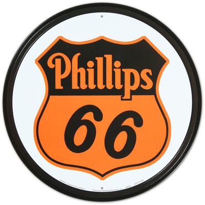 Phillips 66 Shield Logo Gasoline Round Tin Sign
