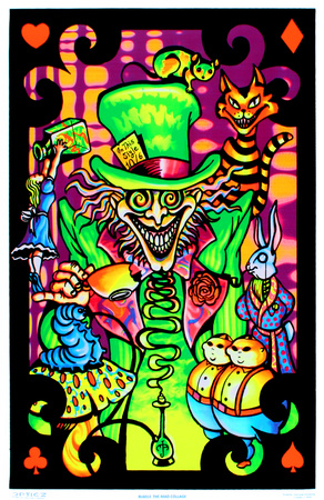 Green, orange, purple Alice in Wonderland Mad Hatter blacklight poster wall art print